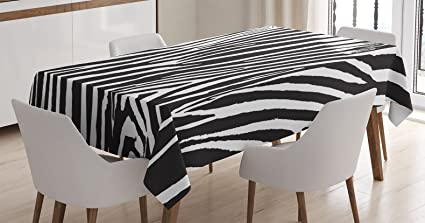 Ambesonne Zebra Print Decor Tablecloth Design With Animal Blended Over Itself To Create An