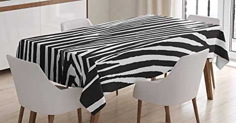 Groovy Ambesonne Zebra Print Decor Tablecloth Zebra Design With Animal Blended Over Itself To Create An Abstract Pattern Dining Room Kitchen Rectangular Download Free Architecture Designs Aeocymadebymaigaardcom