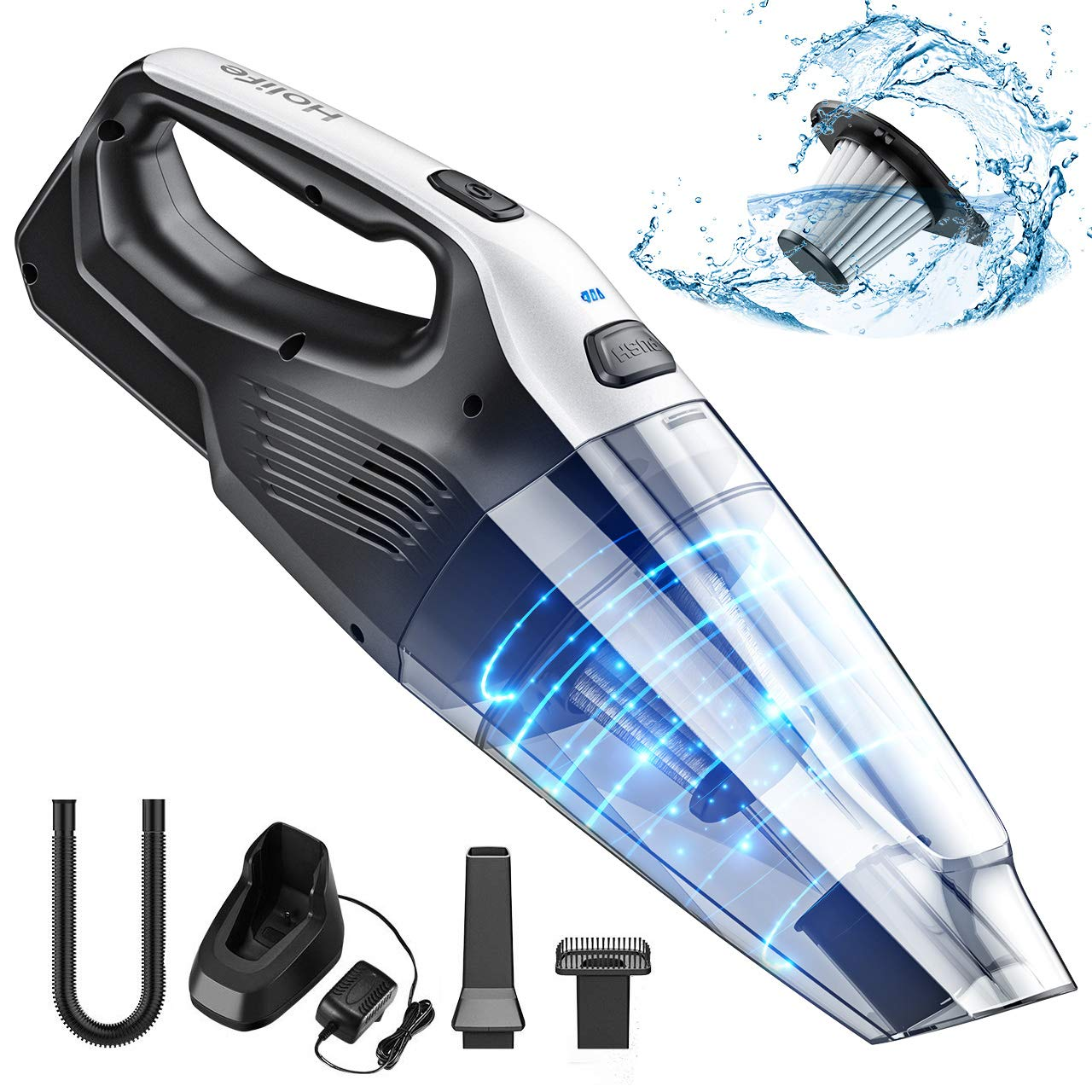Holife Rechargeable Handheld Vacuum Cordless with Stainless Steel Filter (500 Times Washed), Powerful Cyclonic Suction Lightweight Hand Held Vac for Car by Holife