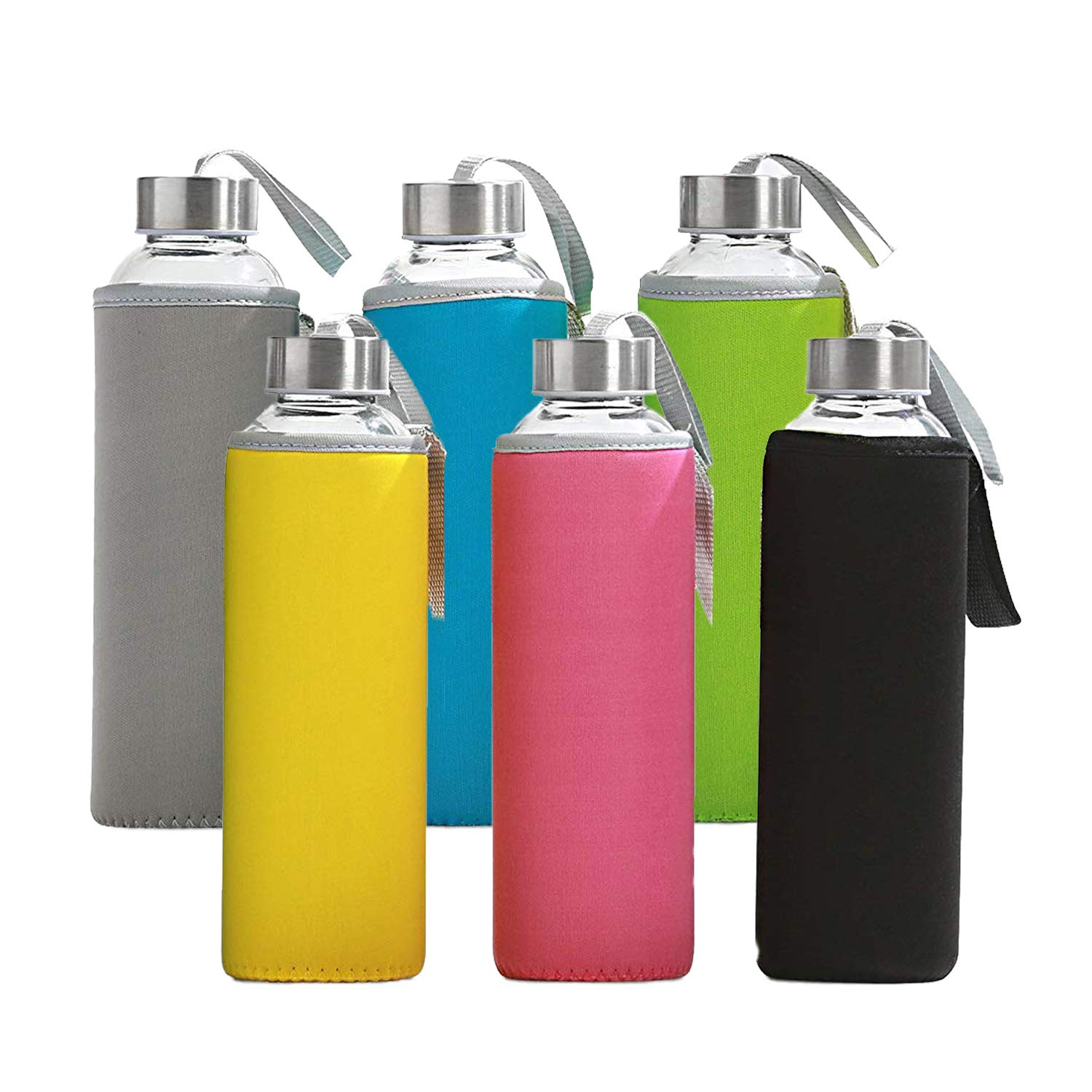 6 Pack - Glass Water Bottles with Multi-Color Neoprene Sleeves, 18 oz Capacity, Kombucha, Smoothies, Juice, Reusable, Back to School, by California Home Goods
