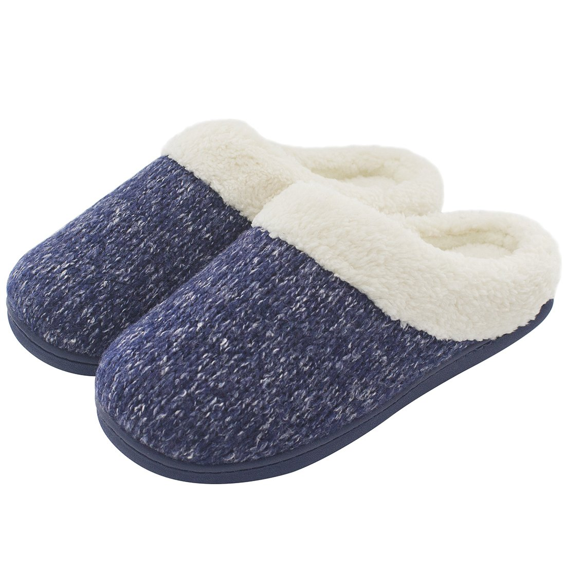 Women's Cozy Woolen Yarn Knitted Slippers Memory Foam Plush Lining Slip-on House Shoes w/Anti-Slip Sole, Indoor/Outdoor (Large / 9-10 B(M) US, Navy Blue)