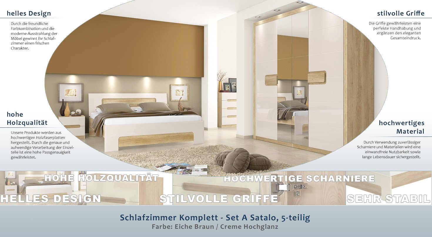 GroBartig Schlafzimmer Komplett   Set A Satalo, 5 Teilig, Farbe: Eiche Braun / Creme  Hochglanz: Amazon.de: Baumarkt