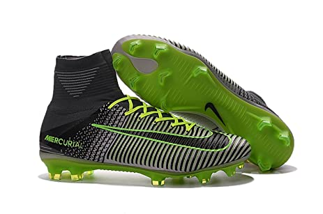 Men's High Ankle Soccer Shoes Nike Mercurial Superfly V FG Platinum-Ghost  Green (US