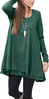 Floral Find Women Long Sleeve Lace Hem Blouse Layered Scoop Neck Tunic Loose Fit Dress
