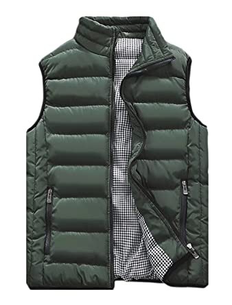 b41c550d594 Vcansion Men s Outdoor Casual Stand Collar Padded Vest Lightweight Down  Cotton Jacket Coat Vest Army Green