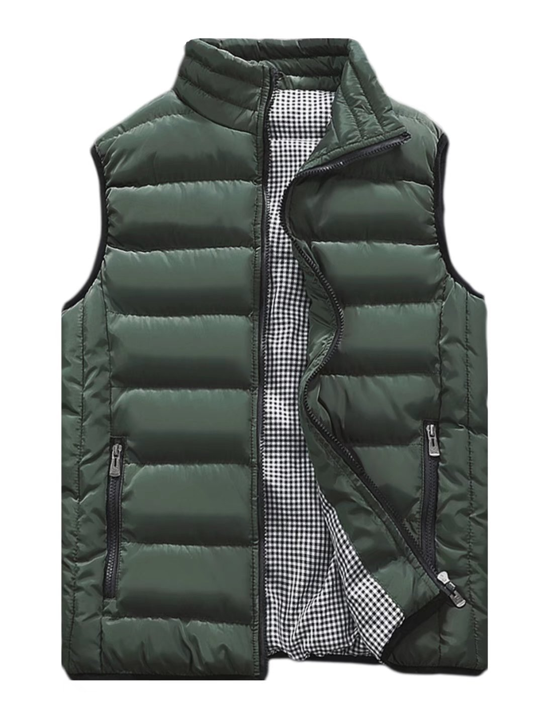 Vcansion Men's Stand Collar Lightweight Vest Casual Down Jacket Coat Vest Army Green XL