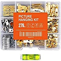 276pcs Picture Hanging Kit Picture Hanger Assortment with Picture Hooks, Wire, Nails, Screw Eyes, D Ring and Sawtooth…