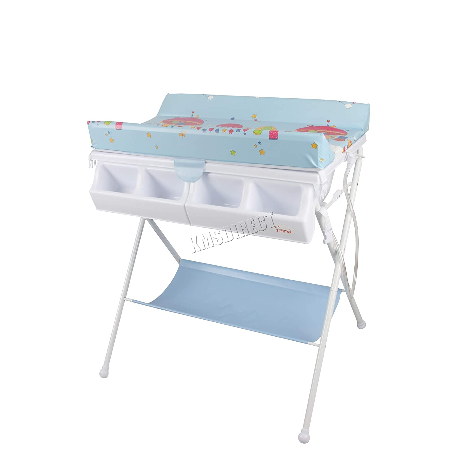 FoxHunter Foldable 2 in 1 Baby Bath Changing Dresser Station Table Unit Storage Towel Rail Infant Nursery Trays Furniture BCT01 Blue KMS BCTW01