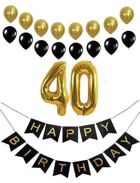 40th decoración para cumpleaños Banner 40th número de Mylar ...