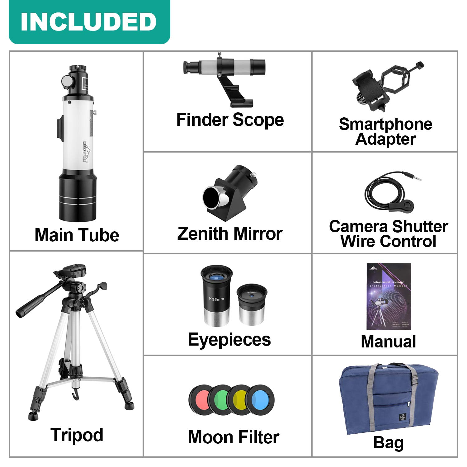 MAXLAPTER Telescope for Kids and Beginners, 70mm Travel Refractor Telescope for Astronomy with Adjustable Tripod, Smartphone Adapter, Camera Shutter Wire Control, Backpack by MAXLAPTER (Image #6)