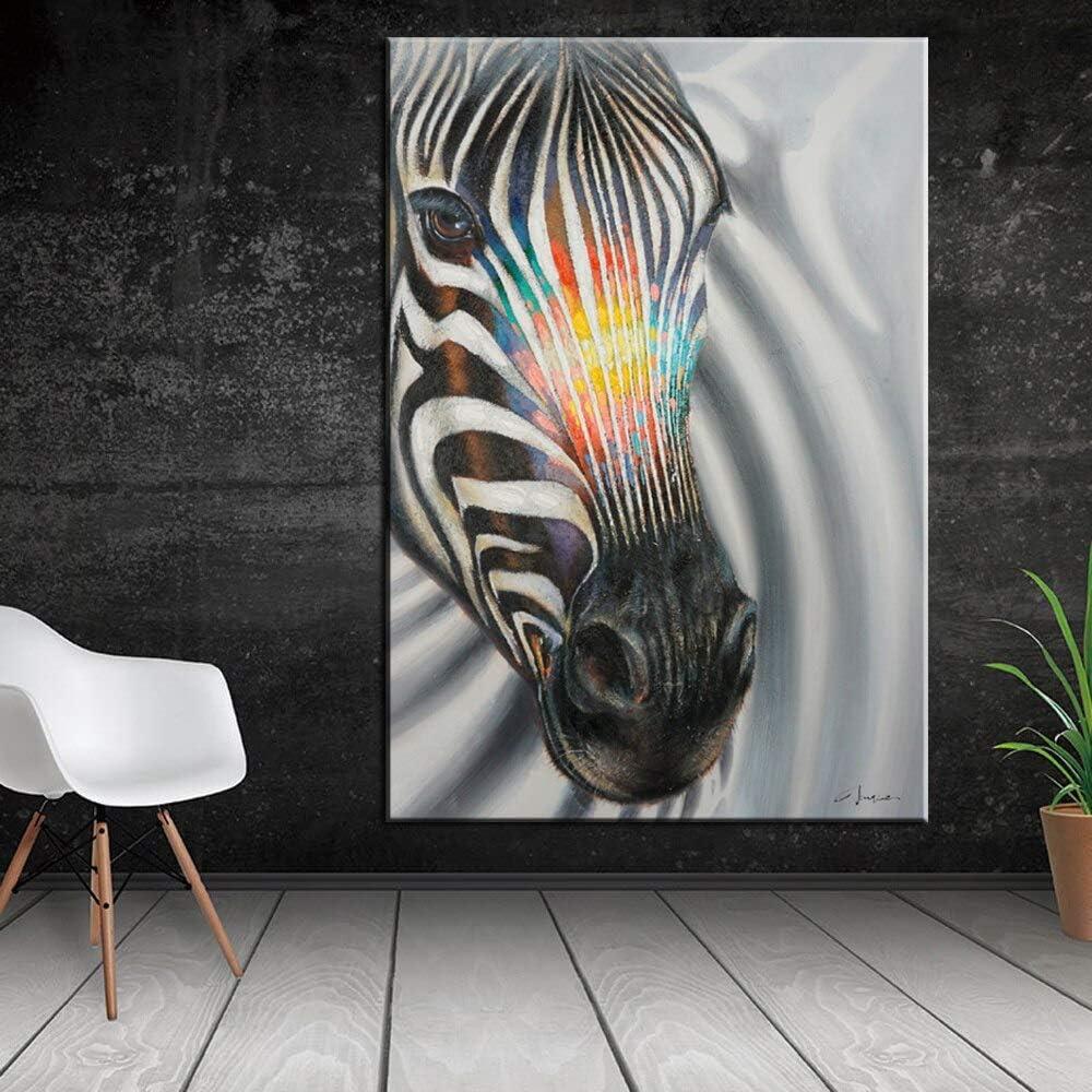zhuziji DIY Pintar por números Cuadro de Animales de Arte Moderno Cebra Blanco y Negro Abstracto Pintar por numeros Caballos con Pincel y Pintura acrílica Pintura para40x60cm(Sin Marco)