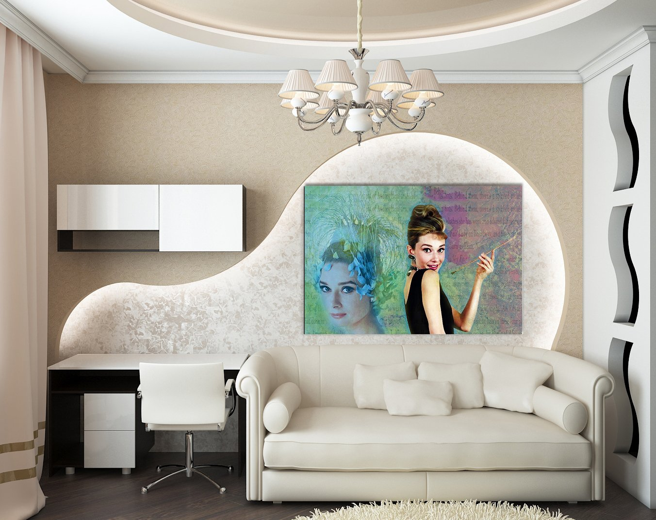 Julia-art Leinwandbilder - Audrey Bild Hepburn Model Icon Bild Audrey 1 teilig - 120 mal 80 cm Leinwand auf Rahmen - sofort aufhängbar   Wandbild XXL - Kunstdrucke QN.164-6 8fb585