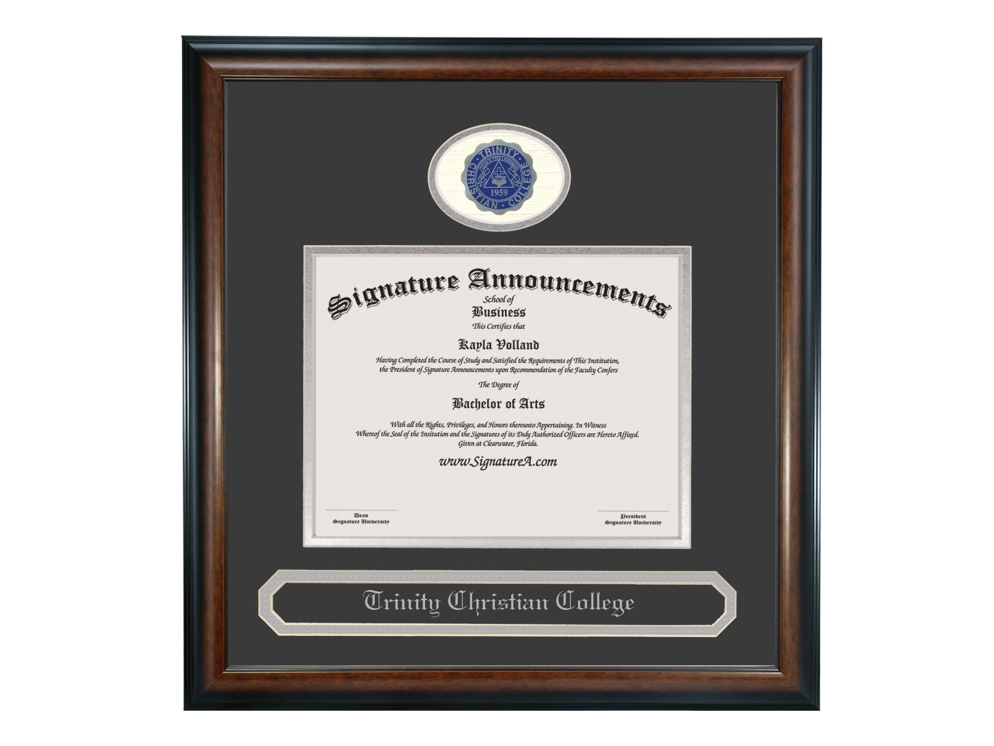 Signature Announcements Trinity Christian College Undergraduate Sculpted Foil Seal & Name Graduation Diploma Frame, 16'' x 16'', Matte Mahogany