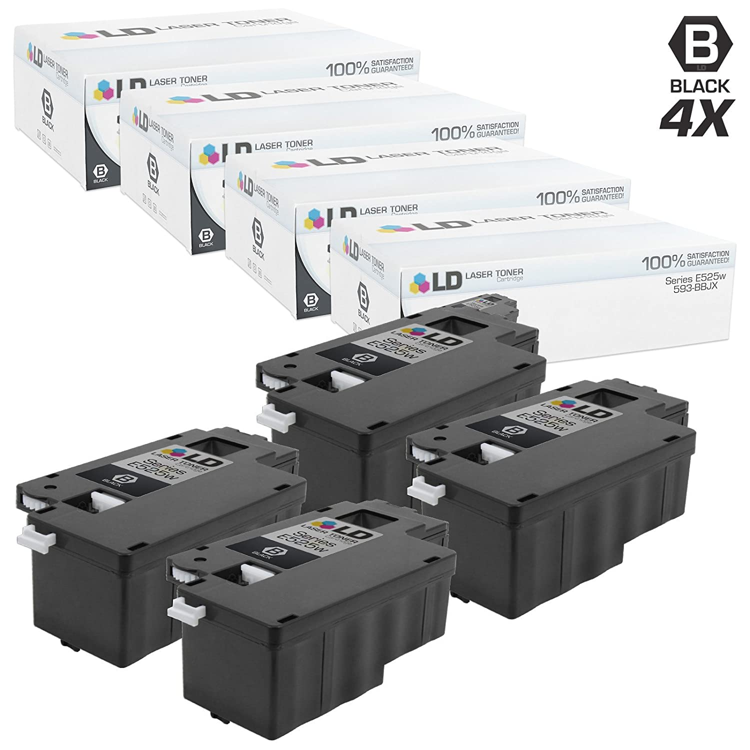 Black, 4-Pack LD Compatible Toner Cartridge Replacement for Dell 593-BBJX DPV4T