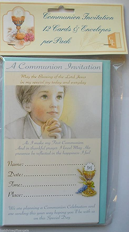boys first communion invitations 12 cards with envelopes amazon co