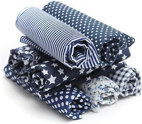 king do way Telas de Algodón Impresas para la Costura a Tela para Bricolaje / Artesano / Hecho a Mano, Telas Patchwork Cuadrados (Azul Oscuro): Amazon.es: Hogar