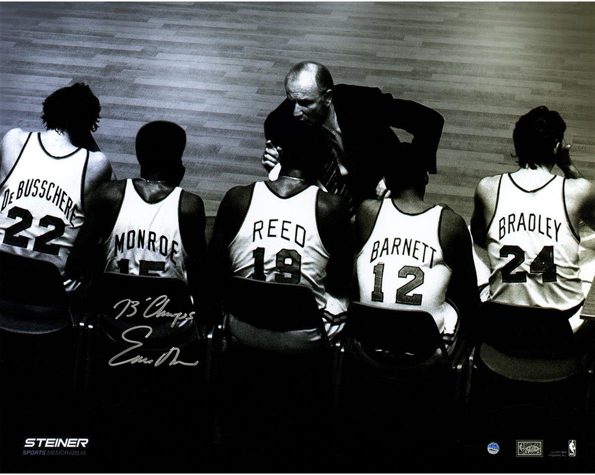 NBA New York Knicks Earl Monroe Signed Bench 16x20 Metallic Photo by Steiner Sports