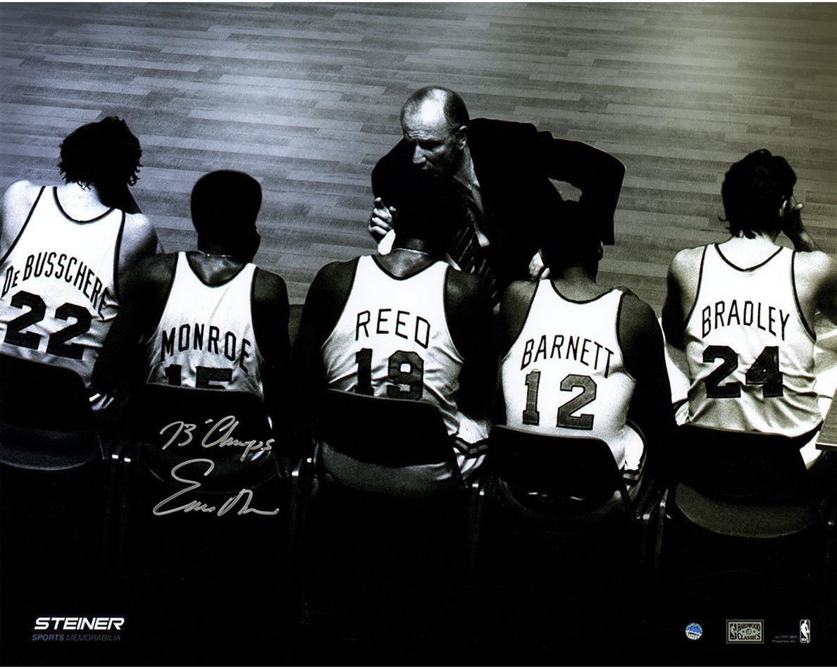 NBA New York Knicks Earl Monroe Signed Bench 16x20 Metallic Photo