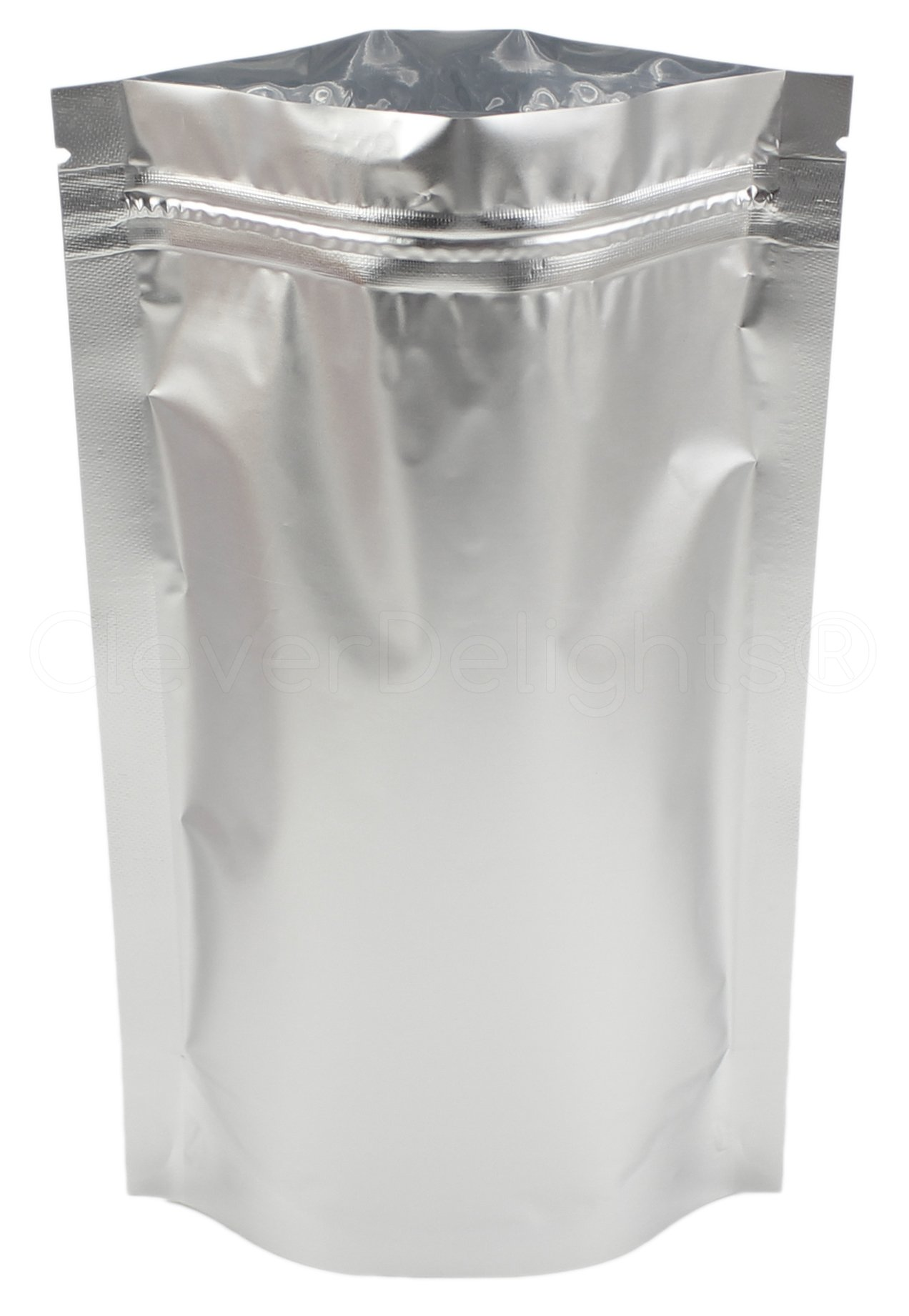 50 Pack - CleverDelights Silver Stand-Up Pouches - 6'' x 9'' x 3'' - 8oz - Resealable Ziplock Bag