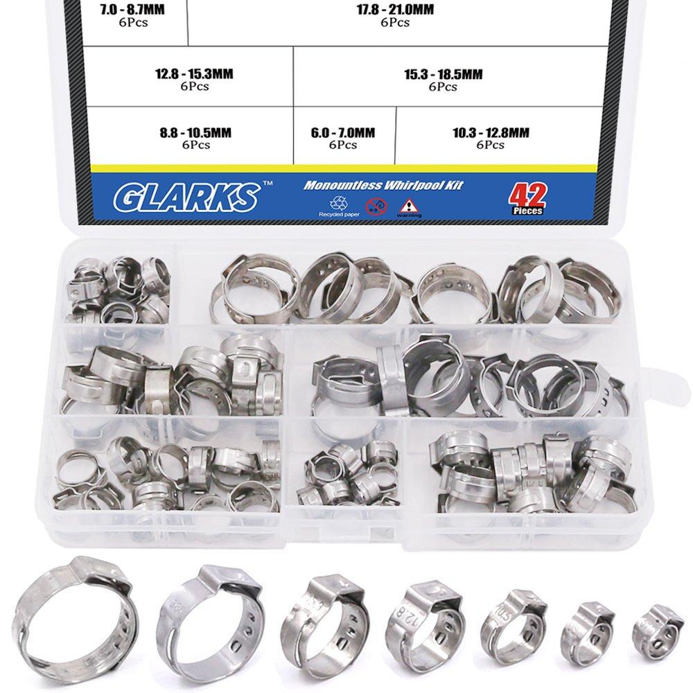 Glarks 42Pcs 7-21mm 304 Stainless Steel Single Ear Stepless Hose Clamps Assortment Kit