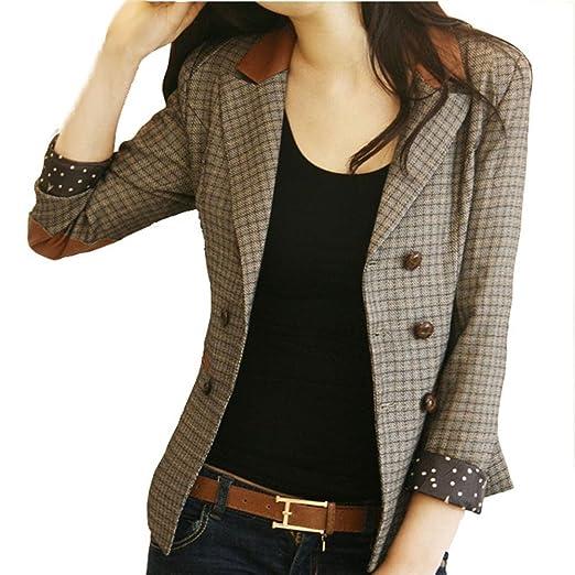 VOBAGA Femme Vestes Vintage Double Breasted Slim Blazer Costume Jacket