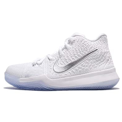 uk availability bd7a5 b4eff Amazon.com   NIKE Kyrie 3 Big Kids  Basketball Shoes (5 M US Big Kid,  White Chrome)   Basketball