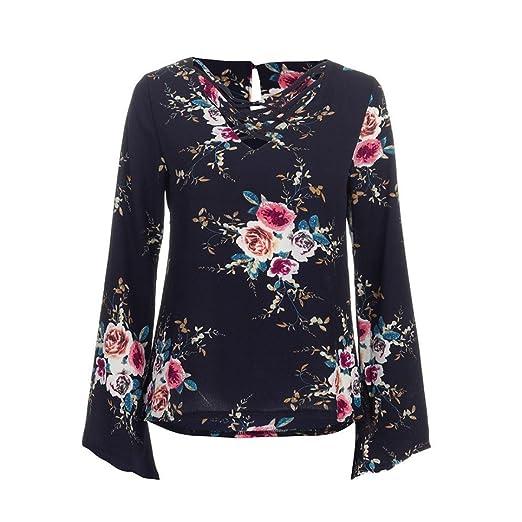 8cb0f6321fbd1 Yucode Fashion Chiffon Flare Sleeve Women Long Sleeve V Neck Floral Print  Casual Blouse T Shirt at Amazon Women's Clothing store: