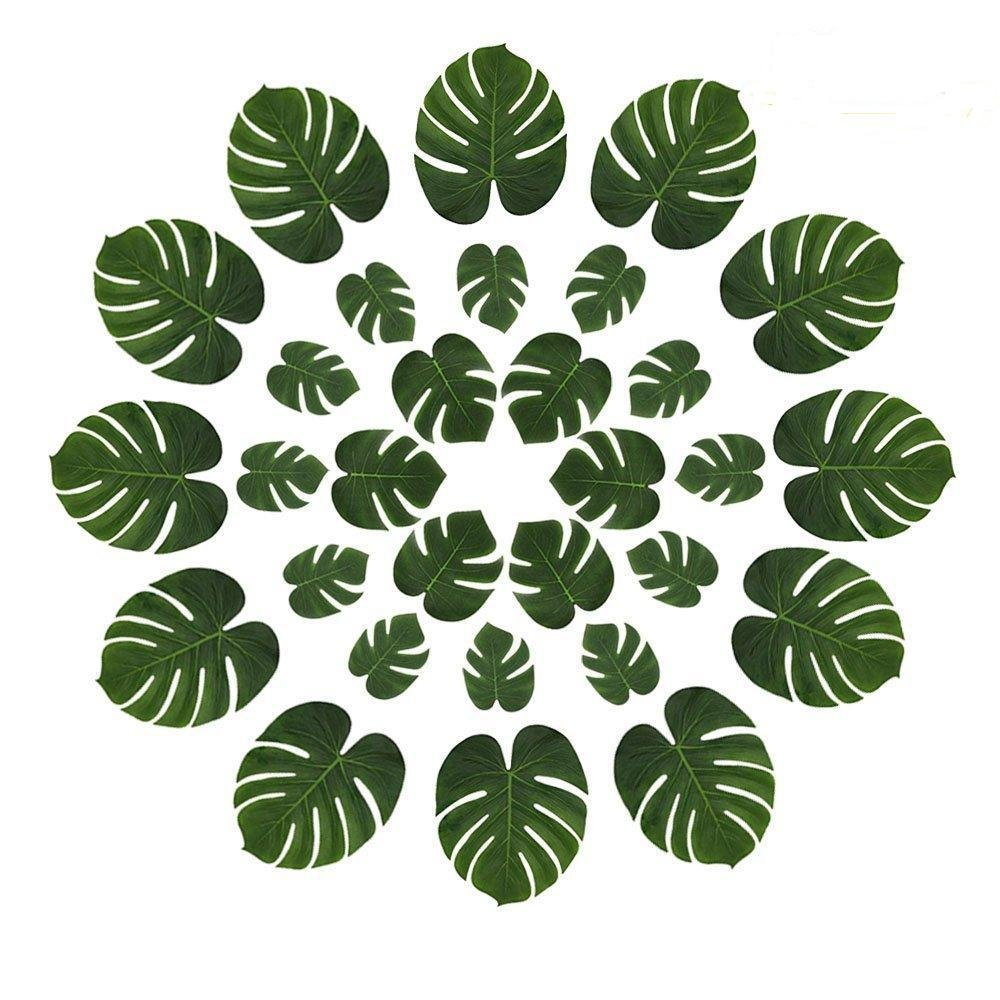 36Pcs Tropical Party Decoration Supplies13, 8 and 6 Tropical Palm Leaves a, Simulation Leaf Tropical Palm Leaves Table Mats for Hawaiian Luau Party Jungle Beach Theme Table (13, 8,6 inch, Green) 8 6 inch LASLU