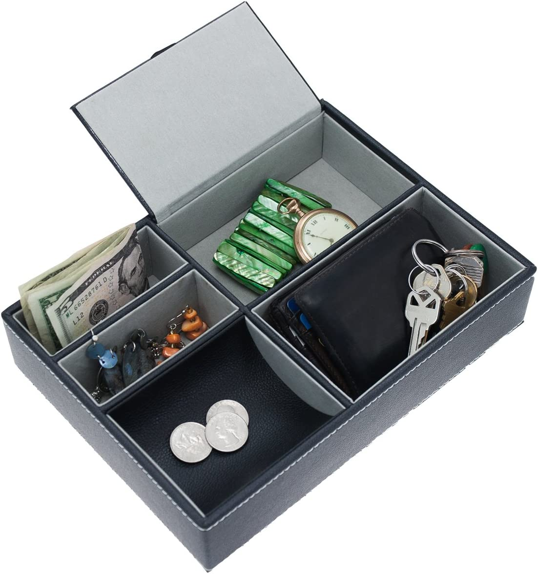 Faux-Leather Valet Tray Felt Compartments Jewelry Wallet Key Coins Storage