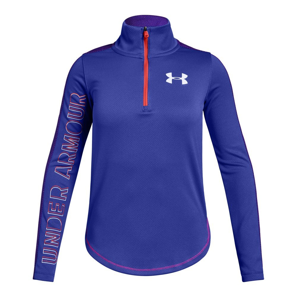 Under Armour Girls Tech 1/2 Zip, Constellation Purple (530)/White, Youth X-Small