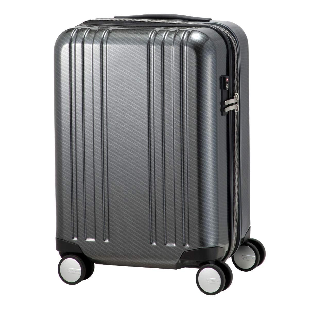 [プラスワン] スーツケース アルファスカイ 機内持込可 45L 48cm 3.3kg 9911-48EX  BLACK-CARBON B07RG4CYY2