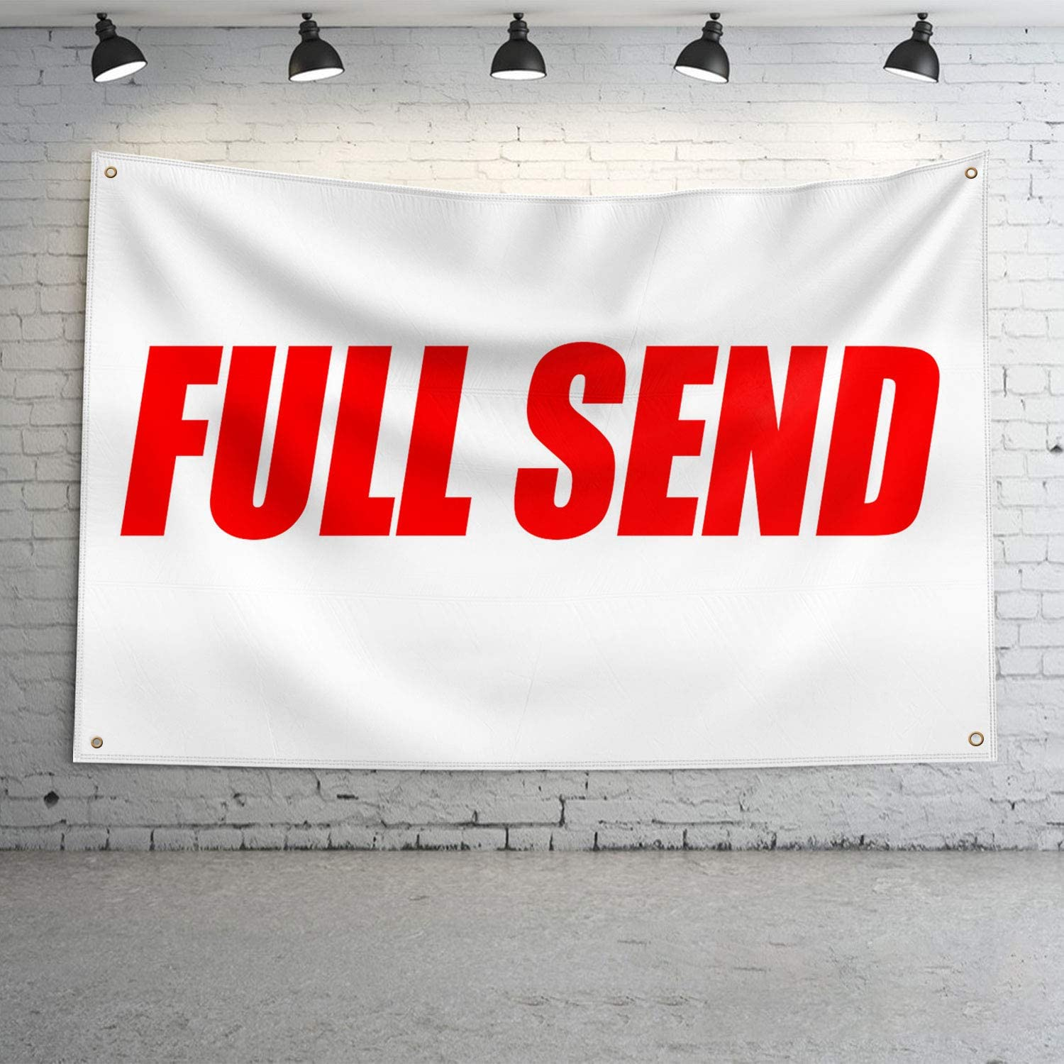 DecorMaster Full Send 3x5 Feet Flag Banner Wall Tapestry for College Dorm or Man Cave Red/White