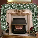 seebesteu Ghirlanda di Natale in Rattan Verde,Elegante Boa innevato per Decorazioni Natalizie