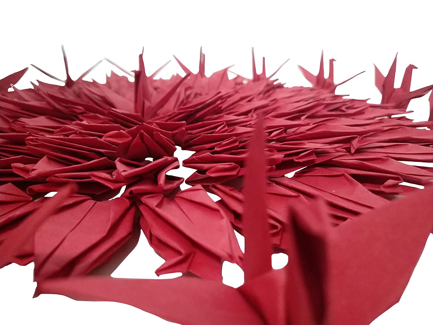 Happiness Symbol of Love Good Luck Kingsnow 100 PCS Red Origami Paper Crane Folded Hand-Made DIY Crane for Wedding Party Baby Shower Background Decoration
