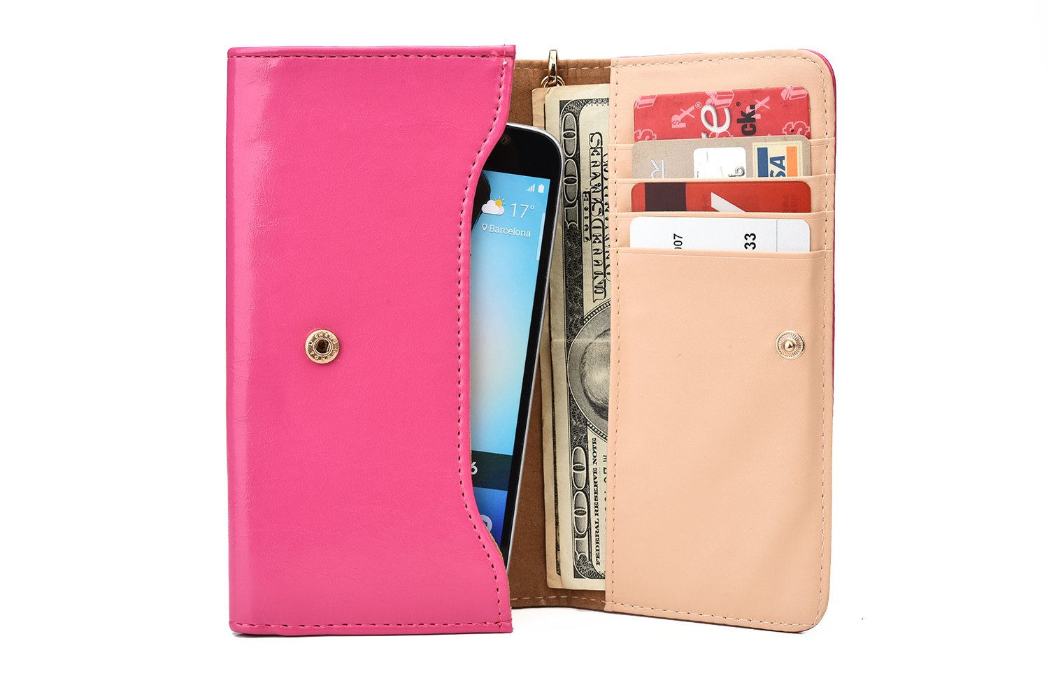 Amazon.com: Cooper Cases(TM) Flirt Universal QMobile Noir A15 3D/A75/A500/A750 Smartphone Wallet Case in Pink (Wrist Strap, Credit Card/ID Slots, ...