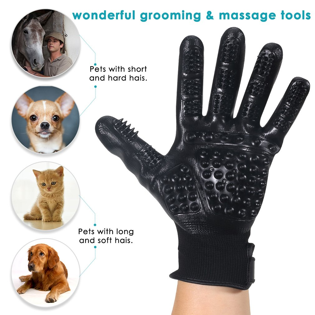 Geeton Pet Grooming Gloves, Pet Hair Removal Tool [2018 Upgrade Version]  Work as Deshedding, Bathing, Massaging Glove Brush, Effective for Long and  Short Hair Dogs, Cats, Horse (1 Pair) [1541016664-344374] - $8.57