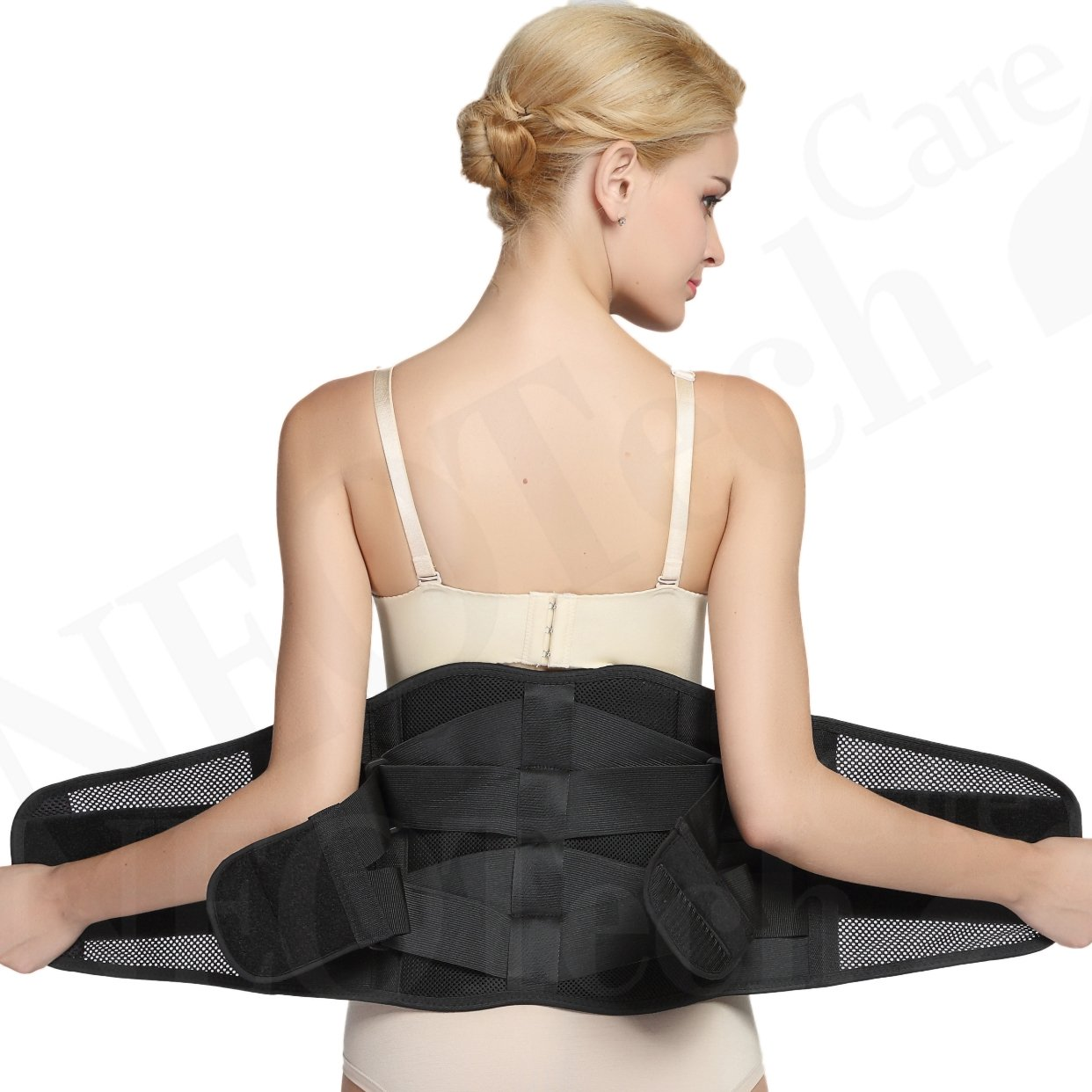 Adjustable Double Pull Lumbar Brace/Lower Back Belt, Pain Relief - Breathable & Lightweight Material - WIDE Support - for Lifting, Work, Gym, Posture - Black - Size L