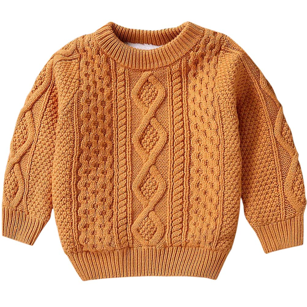 Kids Long Sleeve Crew Neck Chunky Twist Warm Fleece Lined Knit Pullover Sweater for Toddler Baby, Little & Big Boys, Camel 12-18 Months = Tag 80 by BINPAW