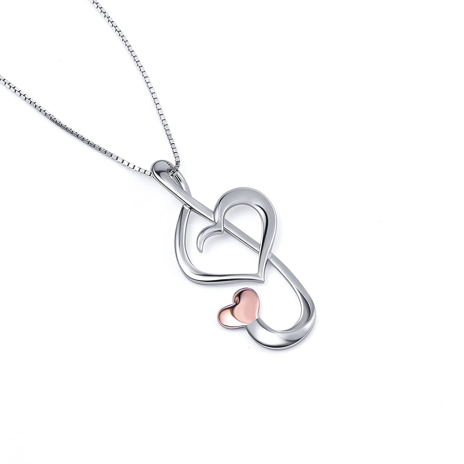 Box Chain 18 inches S925 Sterling Silver Musical Note Pendant Necklace