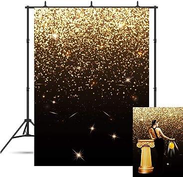 Fanghui Backdrops Golden Glitter Sequin Spot Bokeh and Black Photo Decoration Background Studio Props Booth Vinyl 5x7FT