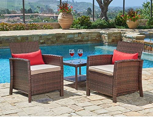Incbruce Patio Set 3-Piece Outdoor All-Weather Brown Wicker Furniture Set