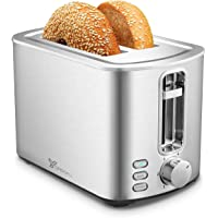 Toaster 2 Slice Stainless Steel Toaster with 6 Shade Settings and Bagel, Cancel, Defrost Function for Family