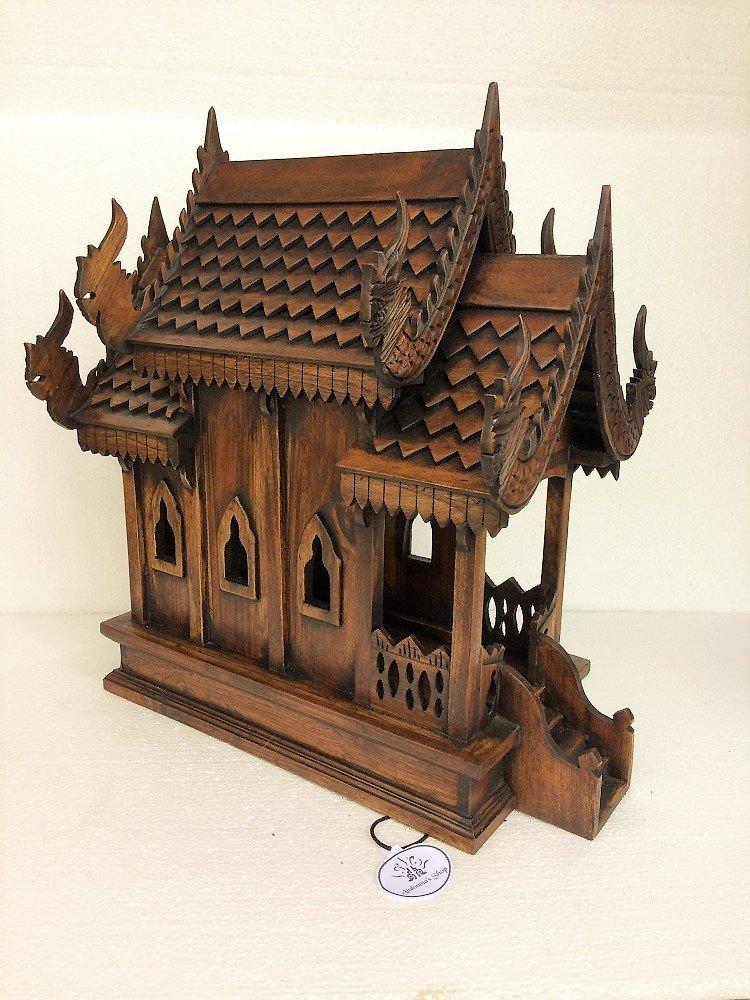 audomna Shop Thai Spirit House Large sanpraphumthaiハンドメイドSpirit House木製ゴールドガラス色、 B0742NNLGR