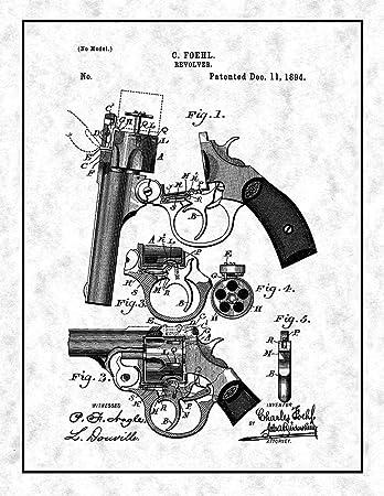 Amazon Com Revolver Patent Print Gunmetal With Border 8 X 10