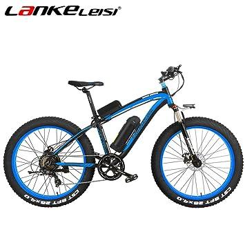 LANKELEISI XF4000 - Neumáticos de nieve para bicicleta de montaña (500 W, 48 V, 7 velocidades, batería de litio), negro/azul: Amazon.es: Deportes y aire ...