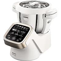 Krups Prep&Cook HP5031 Multifunktions-Küchenmaschine (1.550 Watt, bis zu 12.000 U/min, mit Kochfunktion) weiß/edelstahl + Krups Dampfgaraufsatz