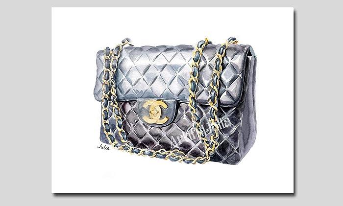 29a5fb330fd013 Amazon.com: Black Chanel bag art print, Chanel art print of ...