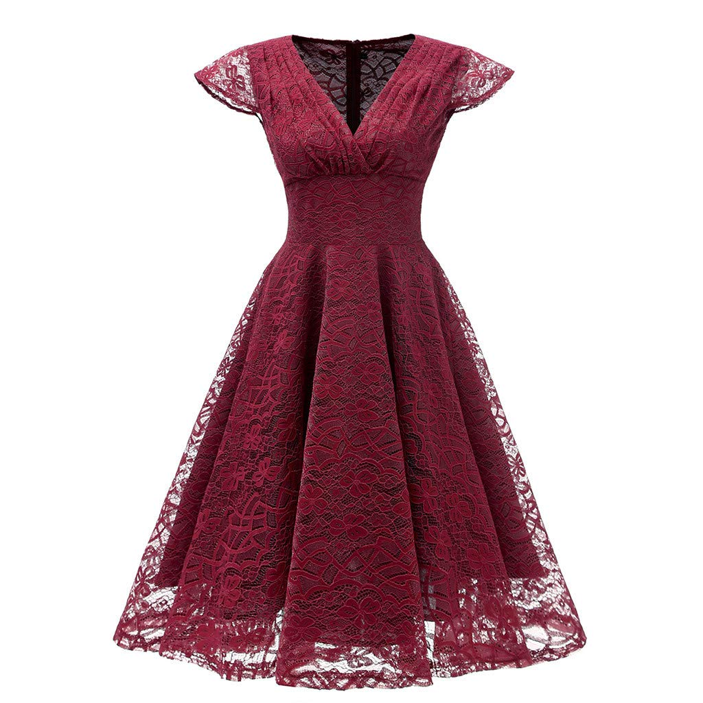 BNisBM Vintage Dresses for Women Floral Lace Cutout Bridesmaid Party Dress Ladies Short Prom Dress V Neck (Wine,M)