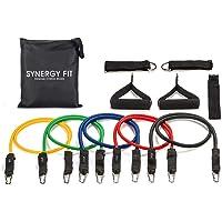 Synergy Fit | Ligas De Resistencia | Bandas para Hacer Ejercicio | Perfecto para Yoga, Pilates, Ejercicio En Casa y Gimnasio | De Diferentes Grosores con Bolso para Transportalas | Set De 11 Piezas