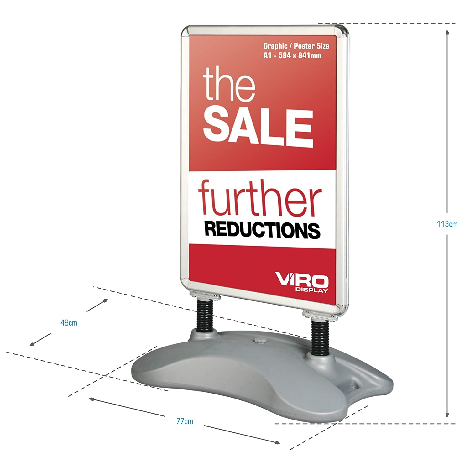 Wind Resistant Pavement Sign Poster Display A-Board from Viro Display (A1 -  594 x 841mm)